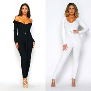 HERA COLLECTION Black Knit Ribbed Jumpsuit L